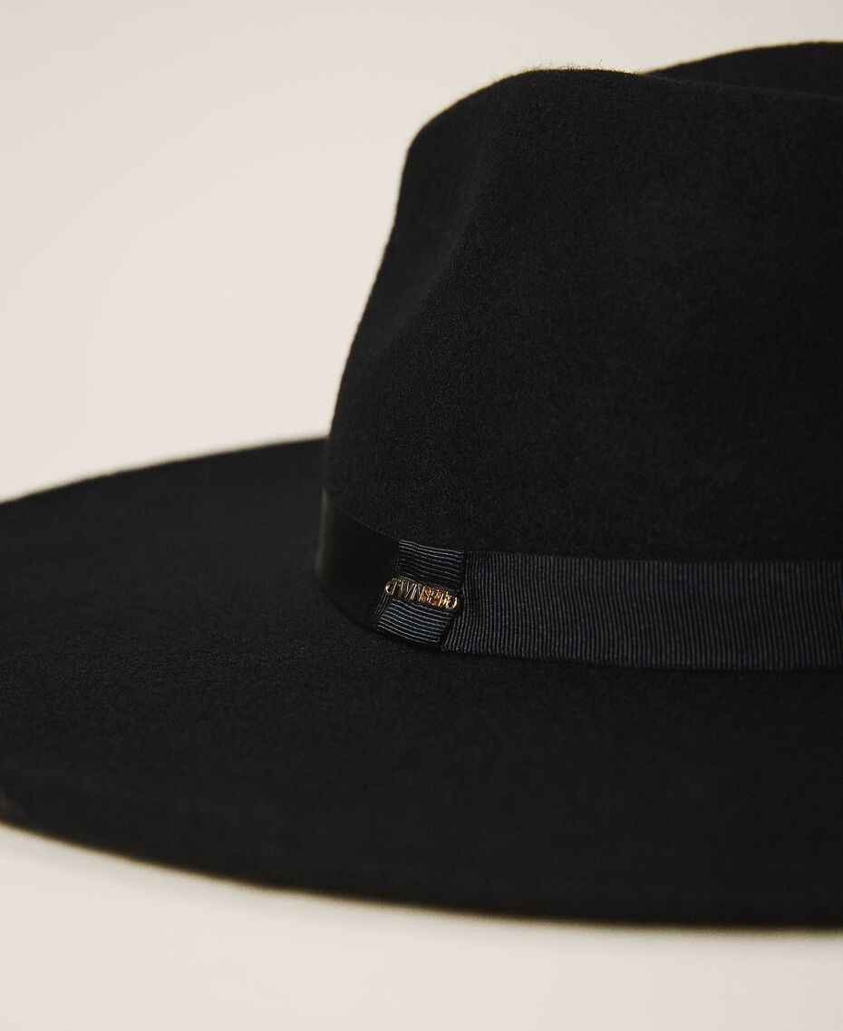 Wide brim hat with ribbon Black Woman 202TA4453-02
