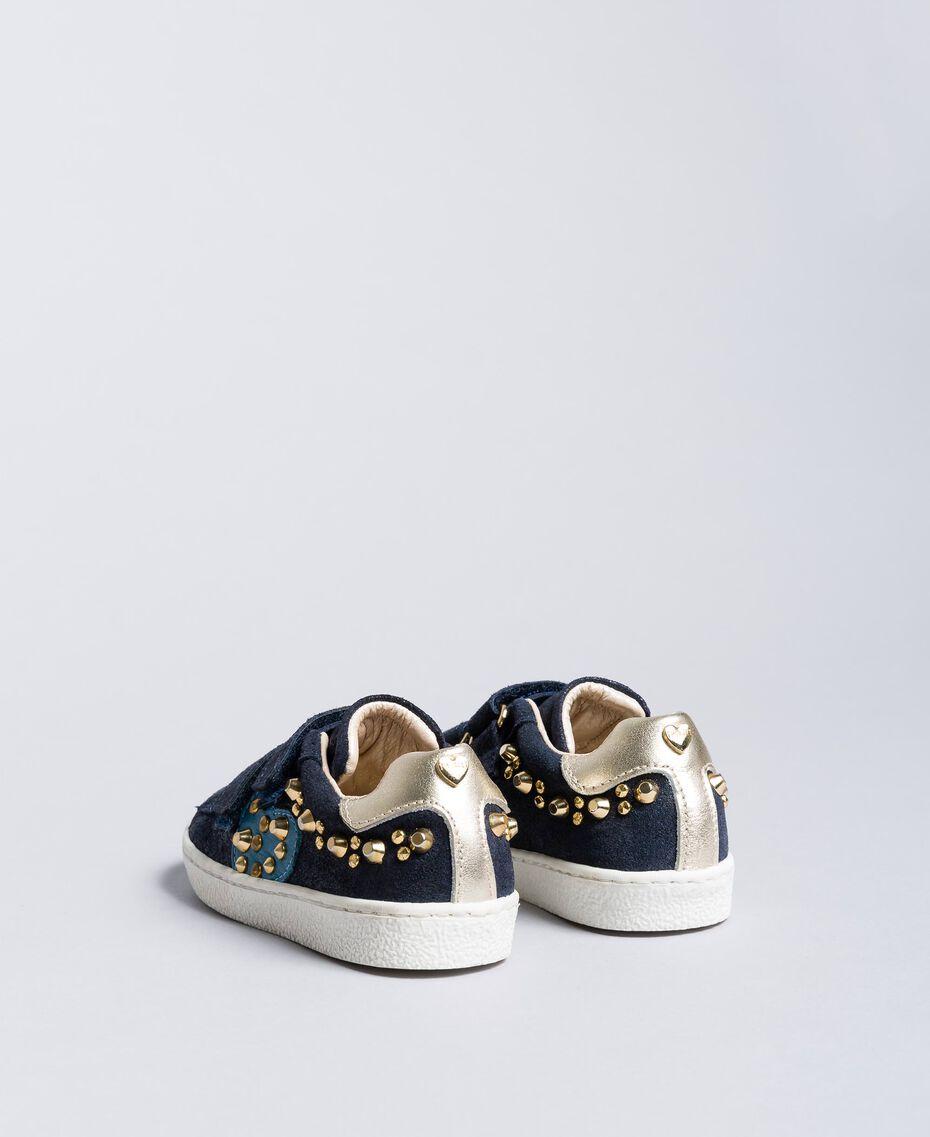 Sneakers aus Veloursleder mit Nieten Blackout Blau Kind HA86BQ-03
