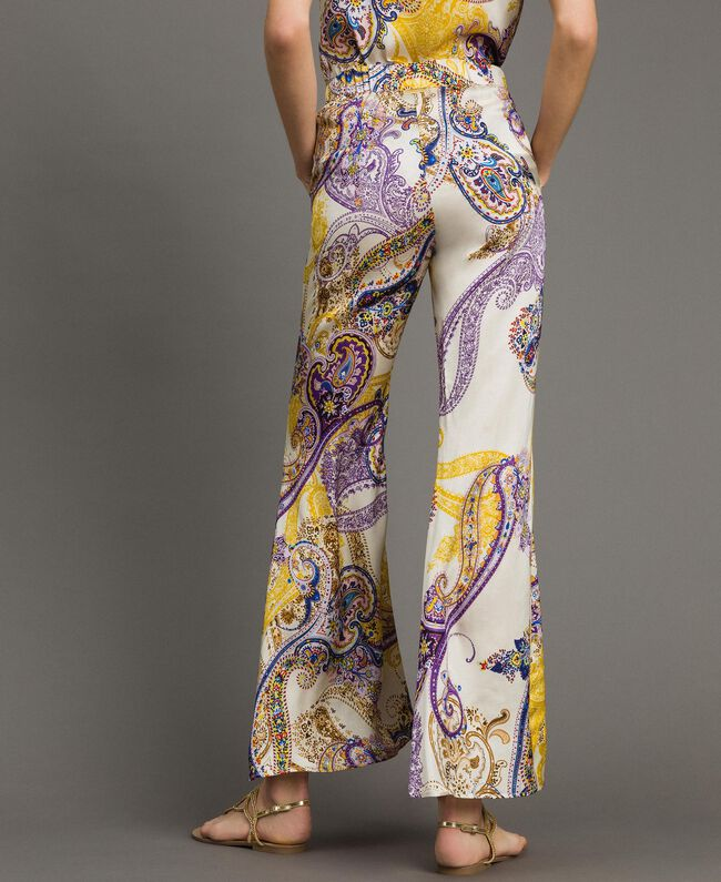 "Paisley print palazzo trousers ""Milkyway"" Beige / Paisley Print Woman 191LM2SAA-03"