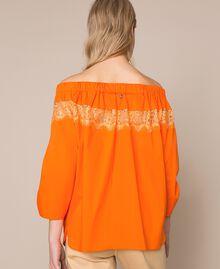 Blouse en popeline avec dentelle Orange «Calendula» Femme 201MT210C-03