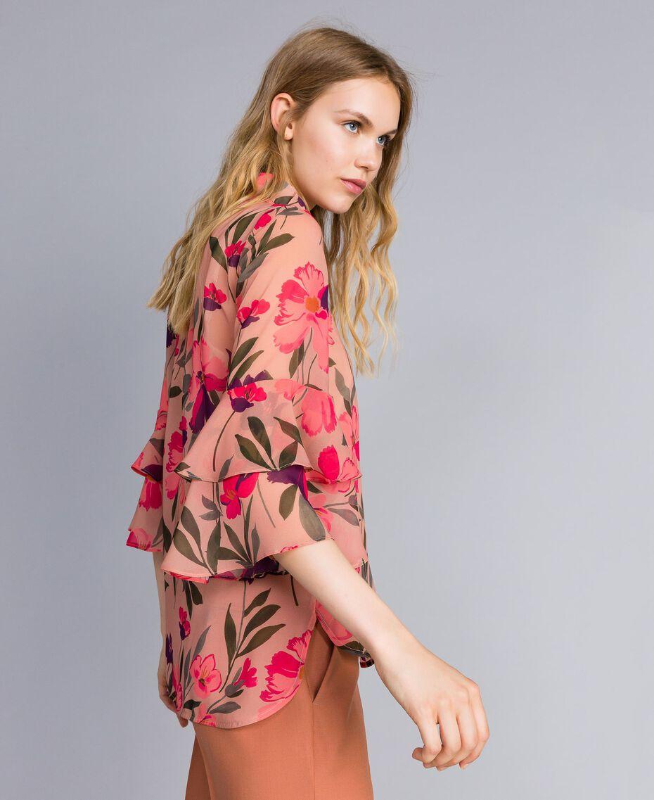 Chemise en mousseline avec imprimé floral Imprimé Rose Tulipe Femme TA825S-02
