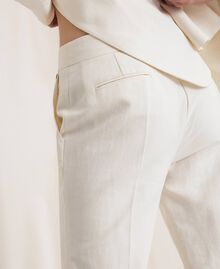 Linen blend cigarette trousers White Snow Woman 201TP2256-04