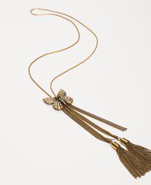 Collier réglable avec papillon et pompons Or «Laiton Vieilli Cuivré» Femme 201TA430E-02