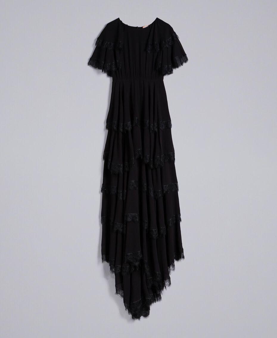 Robe longue en crêpe georgette volanté Noir Femme TA828E-0S