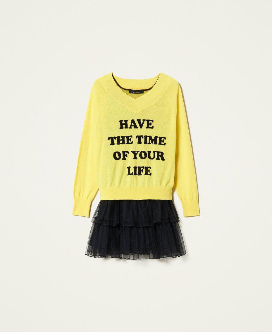 Maxi pull et robe nuisette en tulle Bicolore Jaune Sunny / Noir Femme 212AP3120-0S