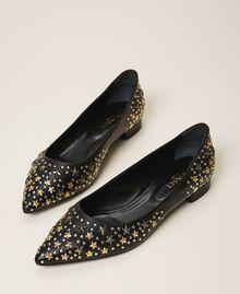 Кожаные балетки с заклепками Черный женщина 202TCP140-01