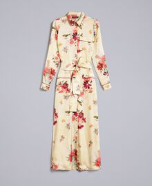 "Long floral print satin shirt dress ""Tea Garden"" Pink Print Woman PA829S-0S"