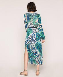 Robe longue en crêpe georgette imprimé paisley Imprimé Paisley Saphir / Bleu Femme 201TP2533-03
