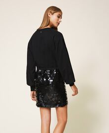 Plush fabric dress with sequins Black Woman 202MT2121-05