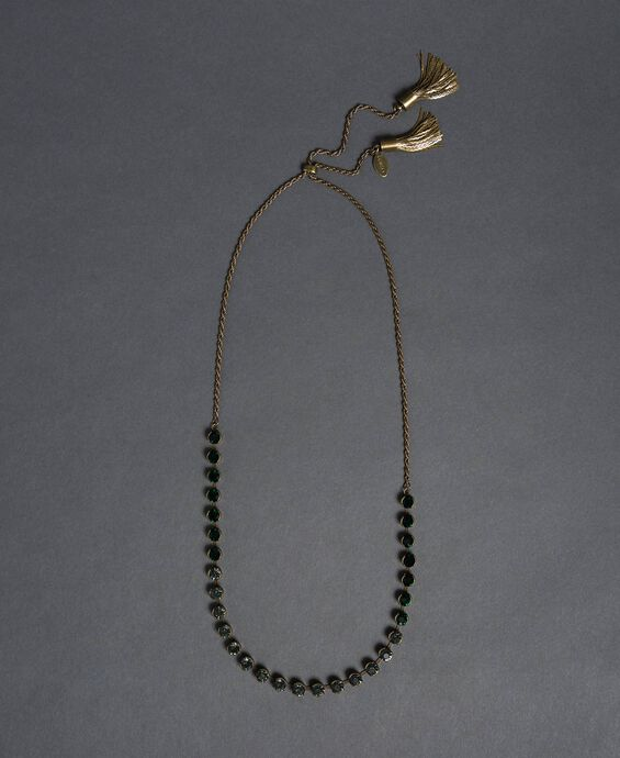 Choker with bezels and tassels