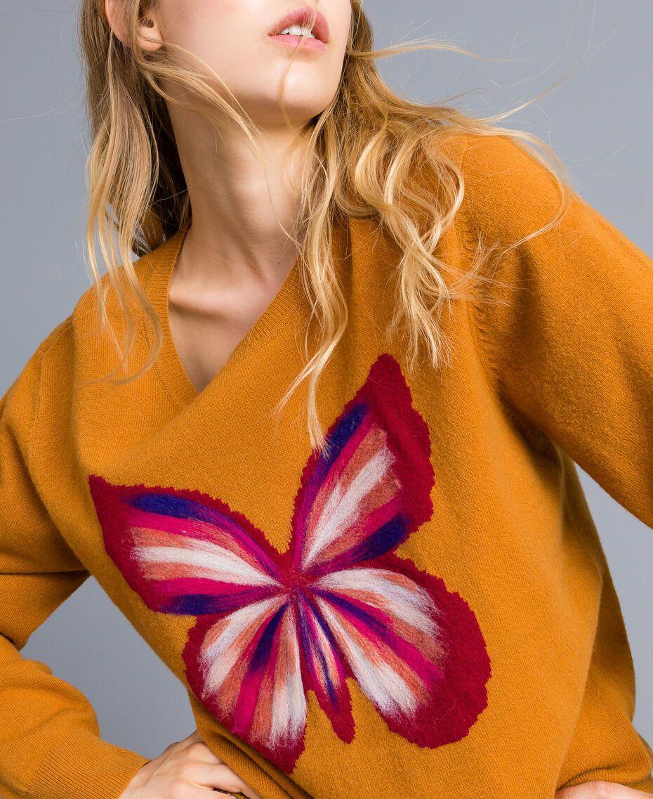 Maxi pull en laine mélangée avec broderie Broderie Ocre Foncé Aiguilletée Femme TA83JG-01