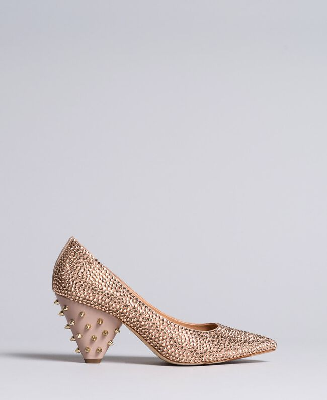 """Suede rhinestone-clad court shoes """"Pale Pink"""" Woman CA8TLC-01"""
