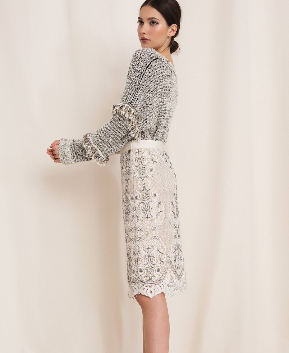 Lace skirt with embroidery Ivory Woman 201TP2464-02
