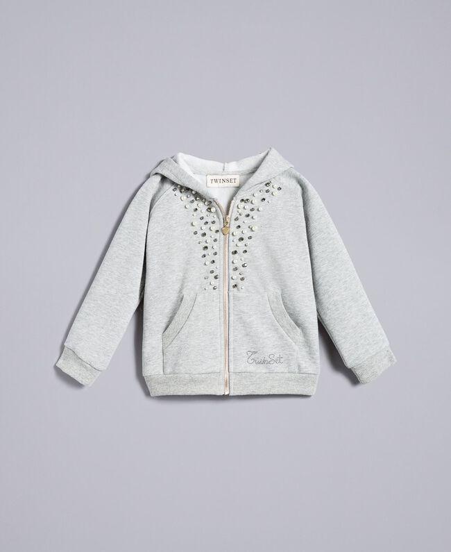 Sweat en coton avec perles et strass Gris clair chiné Enfant FA82V2-01