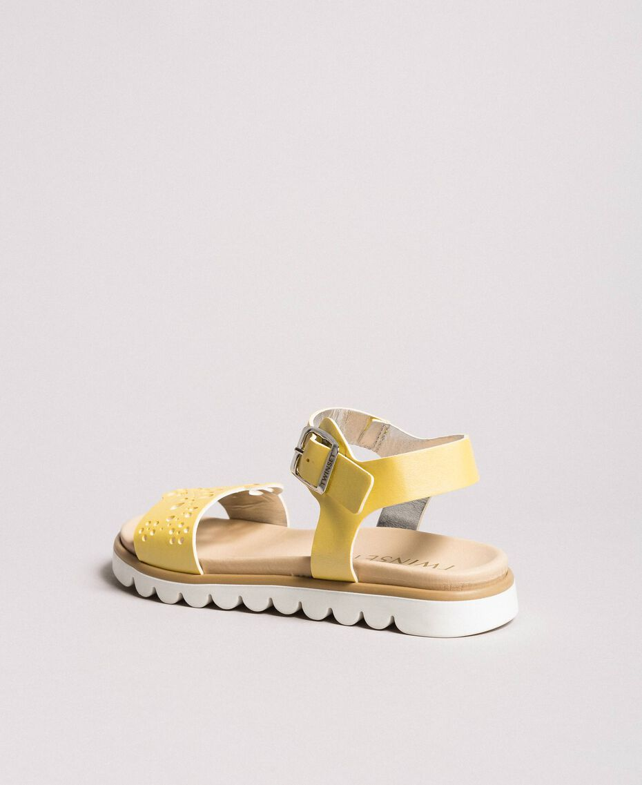 "Leather sandals with embroidery ""Bamboo"" Yellow Child 191GCJ170-02"
