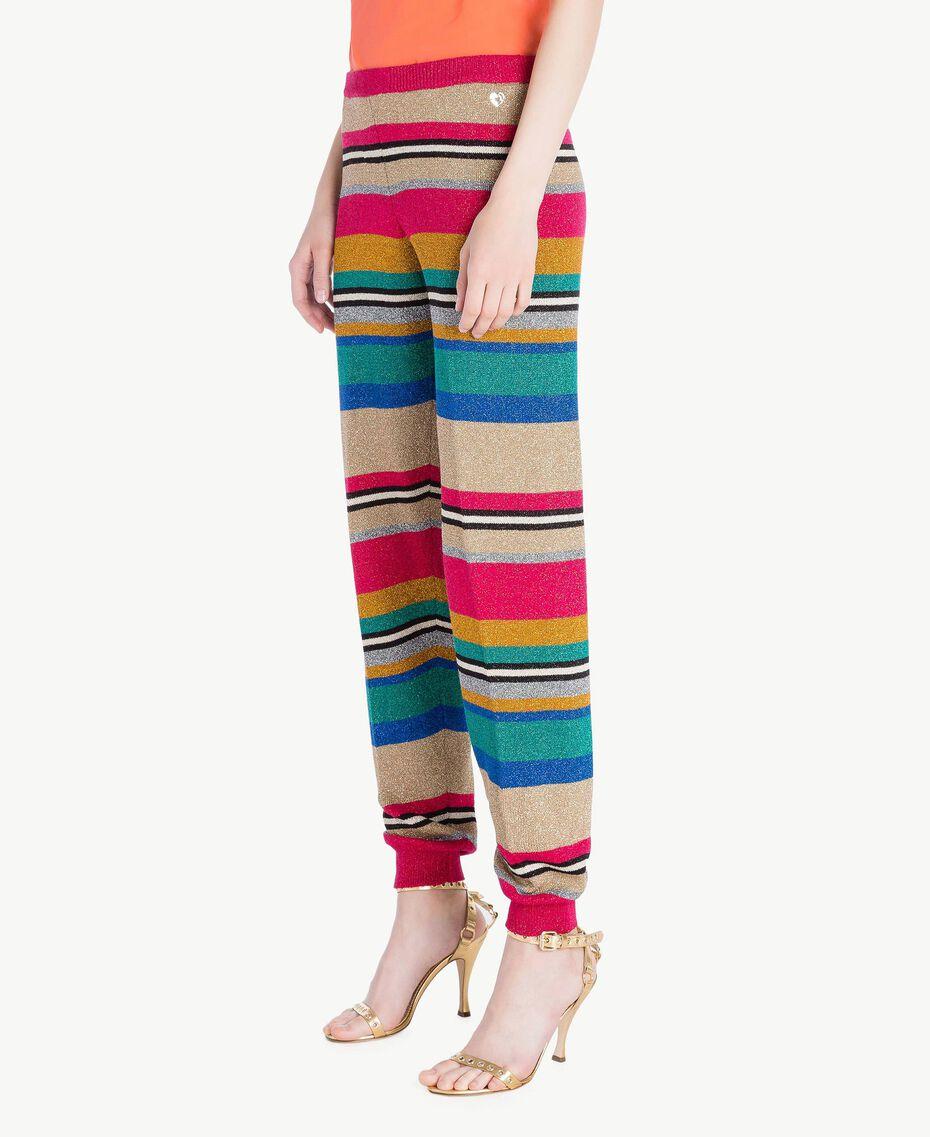 Hose mit Lurex Multicolor-Lurexstreifen Frau TS833R-02