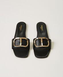 Sandales slide en cuir avec logo Noir Femme 211TCT014-05