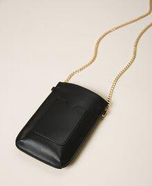 Smartphonetasche aus Lederimitat Schwarz Frau 202TD8118-02