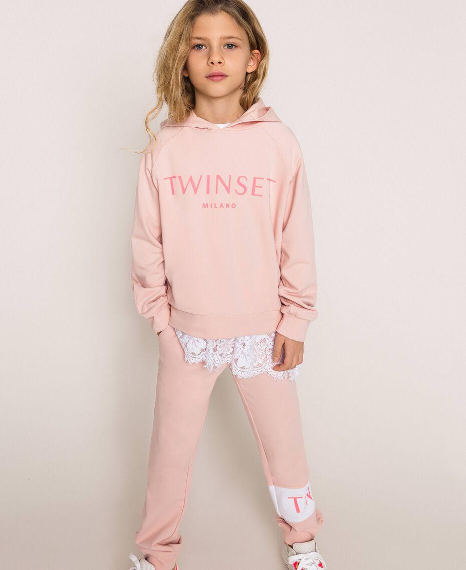 Толстовка с капюшоном и логотипом Принт Twinset Milano / Розовый Светлый Pебенок 201GJ2373-01
