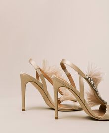 Satin sandals with feathers Nougat Beige Woman 999TCP032-03