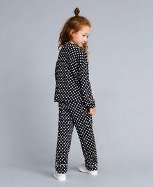 Pyjama en viscose à pois Imprimé Pois Noir / Blanc Cassé Enfant GA828A-03