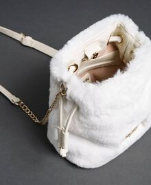 Faux fur bucket bag with drawstring Vanilla White Woman 192MO8032-04