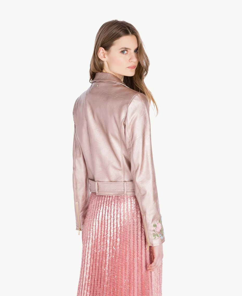 "Embroidered biker jacket Metallic ""Hydrangea"" Pink Woman PS82Q1-03"