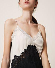 Long lace dress Two-tone Cream White / Black Woman 202TP2121-05