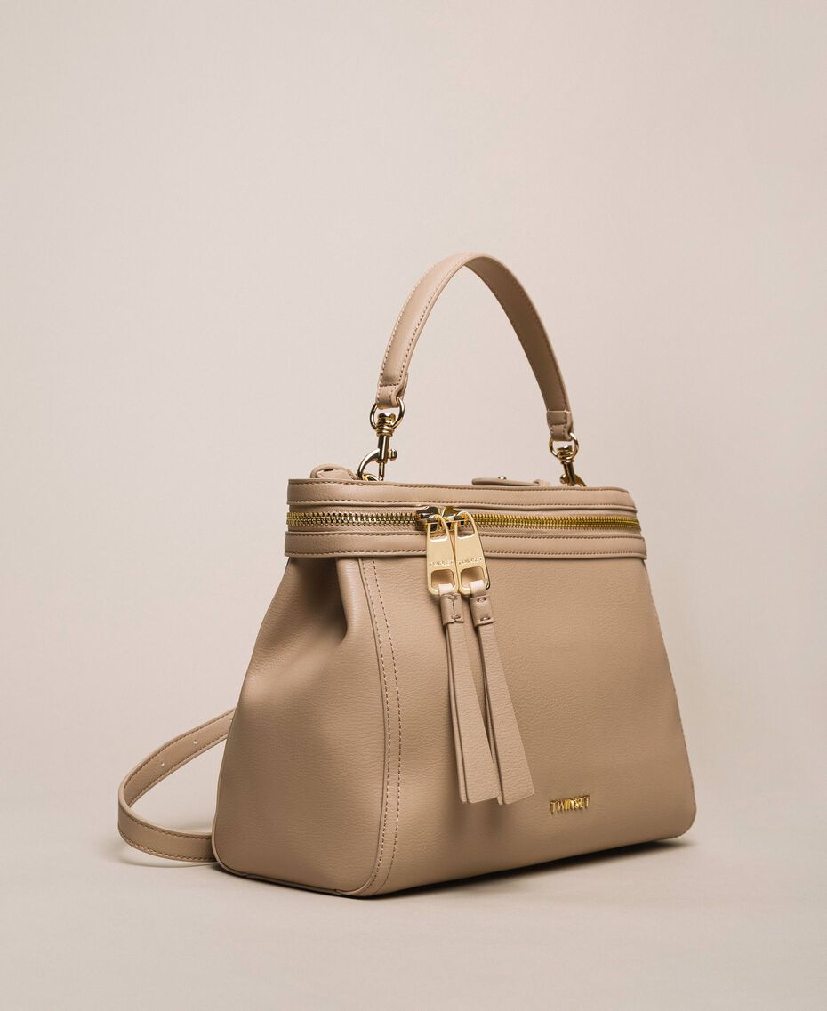 Large faux leather New Cécile bag Nougat Beige Woman 201TO8180-03