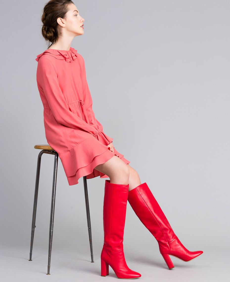 Stivali alti in pelle Rosso Papavero Donna CA8PLA-0S
