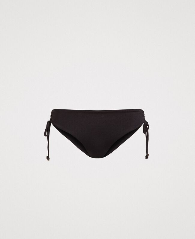Bikini bottom with side drawstring. Black Woman 191LBM299-01