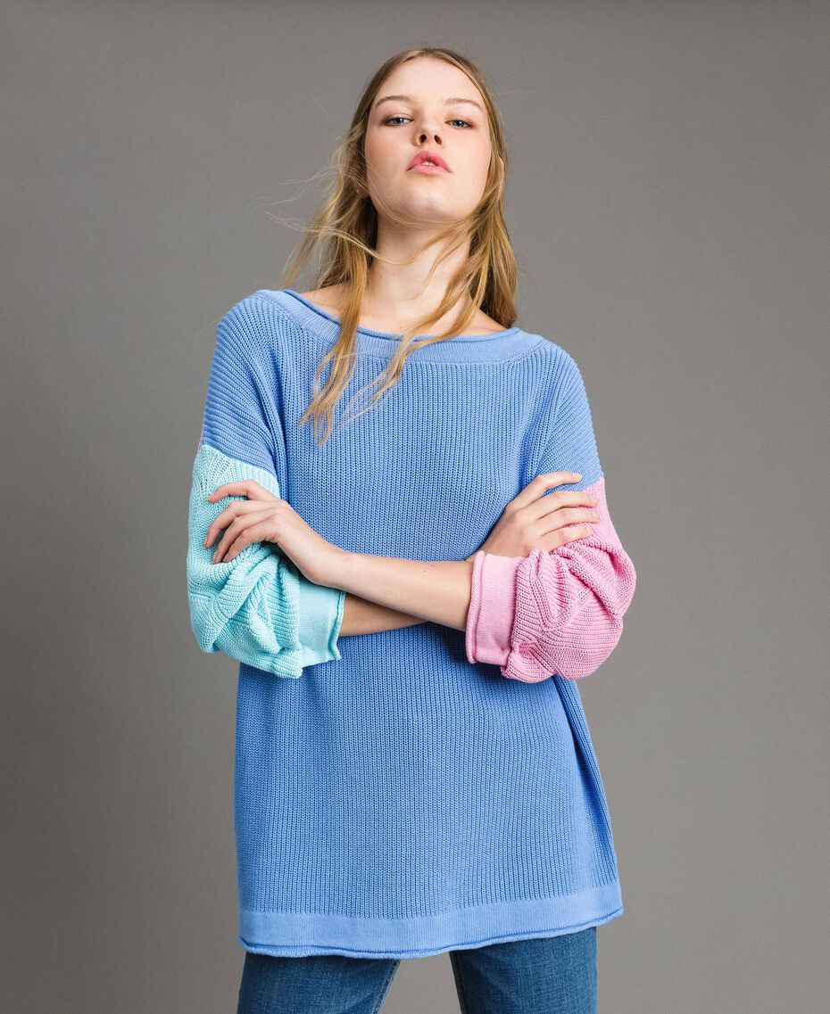 "Colour block maxi top with bow shaped brooch Multicolour ""Cornflower"" Blue / Lilac / Pastel / Red Woman 191MP3090-05"