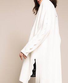 Maxicardigan mit Wellenrändern Weiß Schnee Frau 201TP3020-05