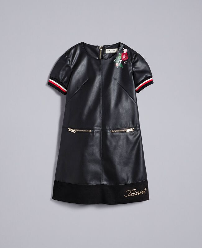 "Embroidered faux leather mini dress Bicolour Black / ""Poppy"" Red Child GA82B2-01"