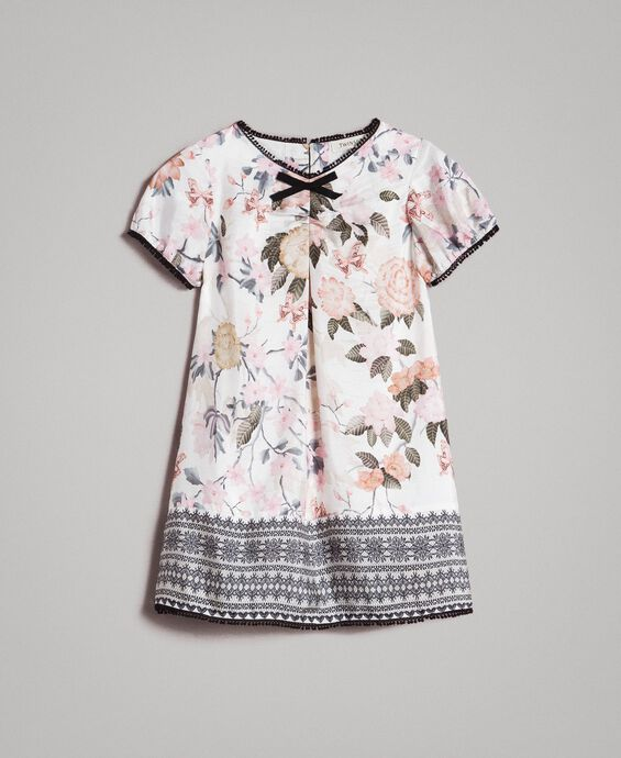 Floral viscose dress with lace print