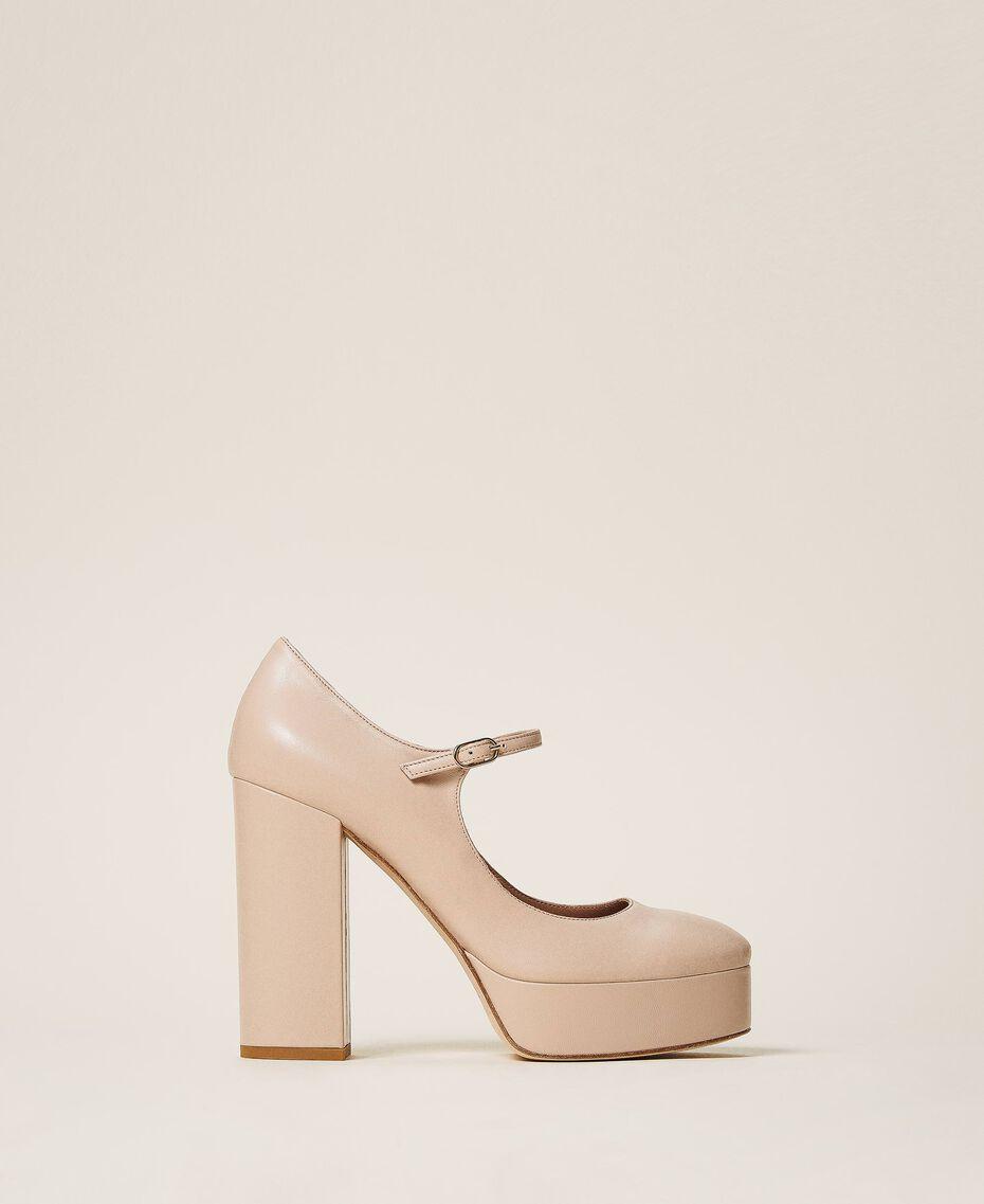 "Platform leather court shoes ""Nude"" Beige Woman 202TCP150-03"