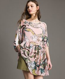 """Floral print georgette tunic dress """"Soft Pink"""" Exotic Print Woman 191ST2222-01"""