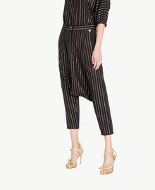 Jacquard trousers Black Jacquard / Gold Stripes Woman TS82VB-02