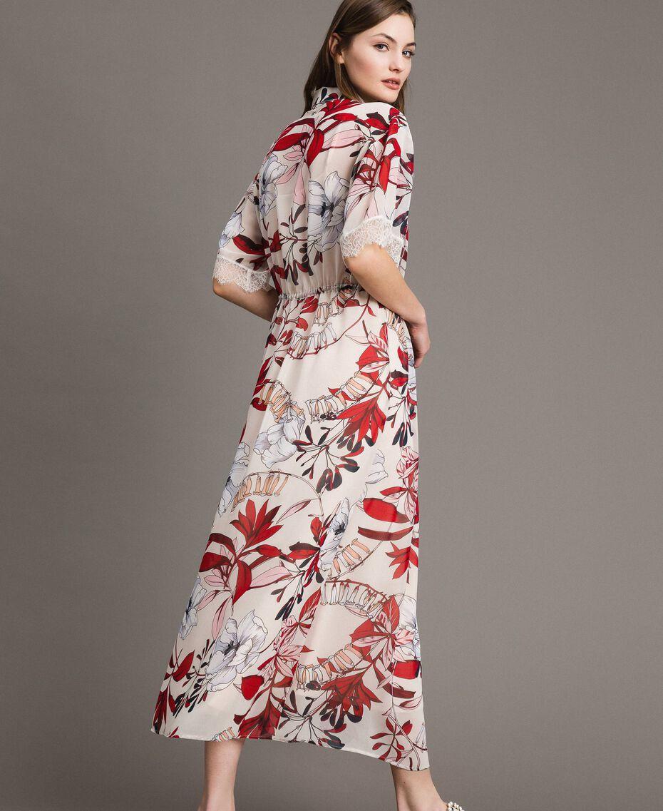 Long floral print georgette dress Exotic Ecru Print Woman 191ST2224-03