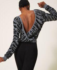 Cardigan-maglia con paillettes animalier Grigio Canna Fucile Donna 202TP3151-01