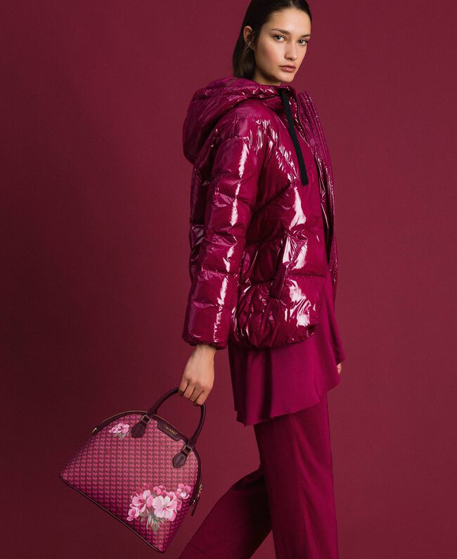 Sac bowling en similicuir imprimé Imprimé Fleurs Papillon Rouge Betterave Femme 192TA7015-0S