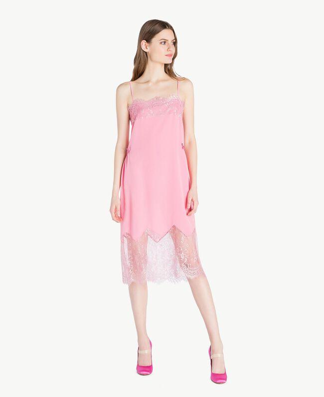 """Silk dress Two-tone """"Doll"""" Pink / """"Hydrangea"""" Pink Woman PS82WA-04"""