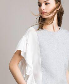 T-Shirt aus Seidenmischung mit Rüschen Grau Melange Frau 191TP2262-01