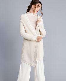 Maxi cardigan en coton et laine Blanc Femme IA87AA-01