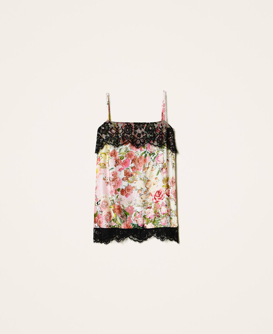 Printed satin top with lace Large Flower Print Woman 202LL2EKK-0S