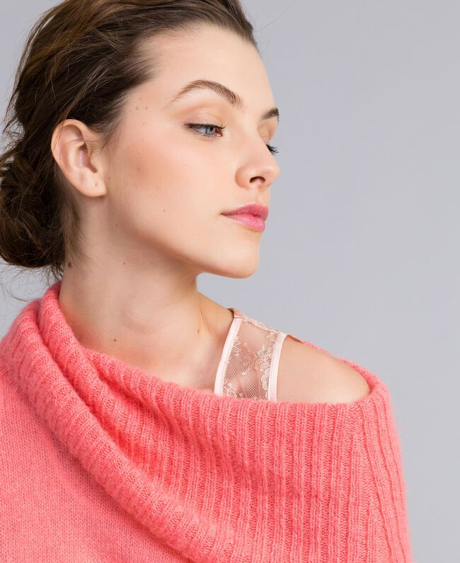 Maglia in mohair con top in pizzo Rosa Royal Pink Donna PA836F-01