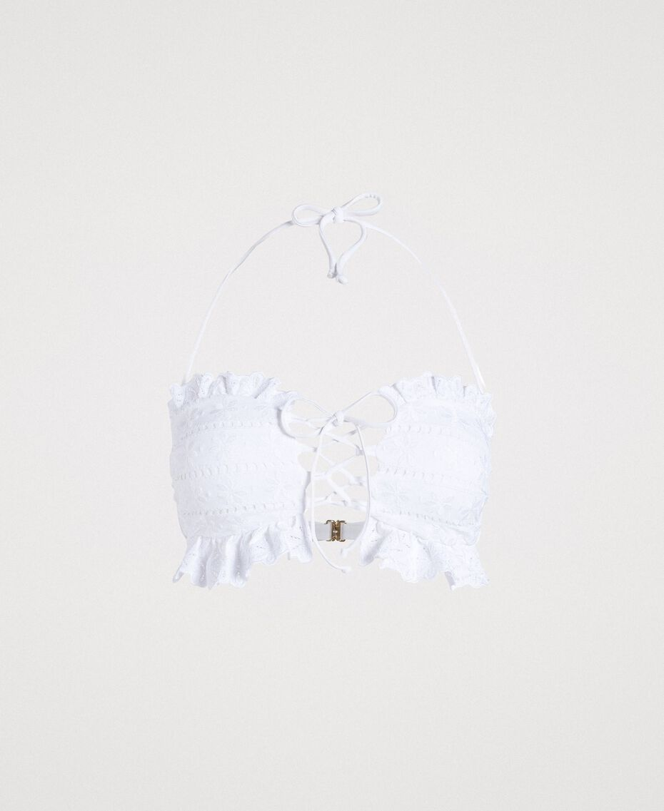 Bandeau bikini top with broderie anglaise embroidery White Woman 191LBME11-01