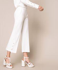 Pantalon avec volants et perles Ivoire Femme 201TP2103-03
