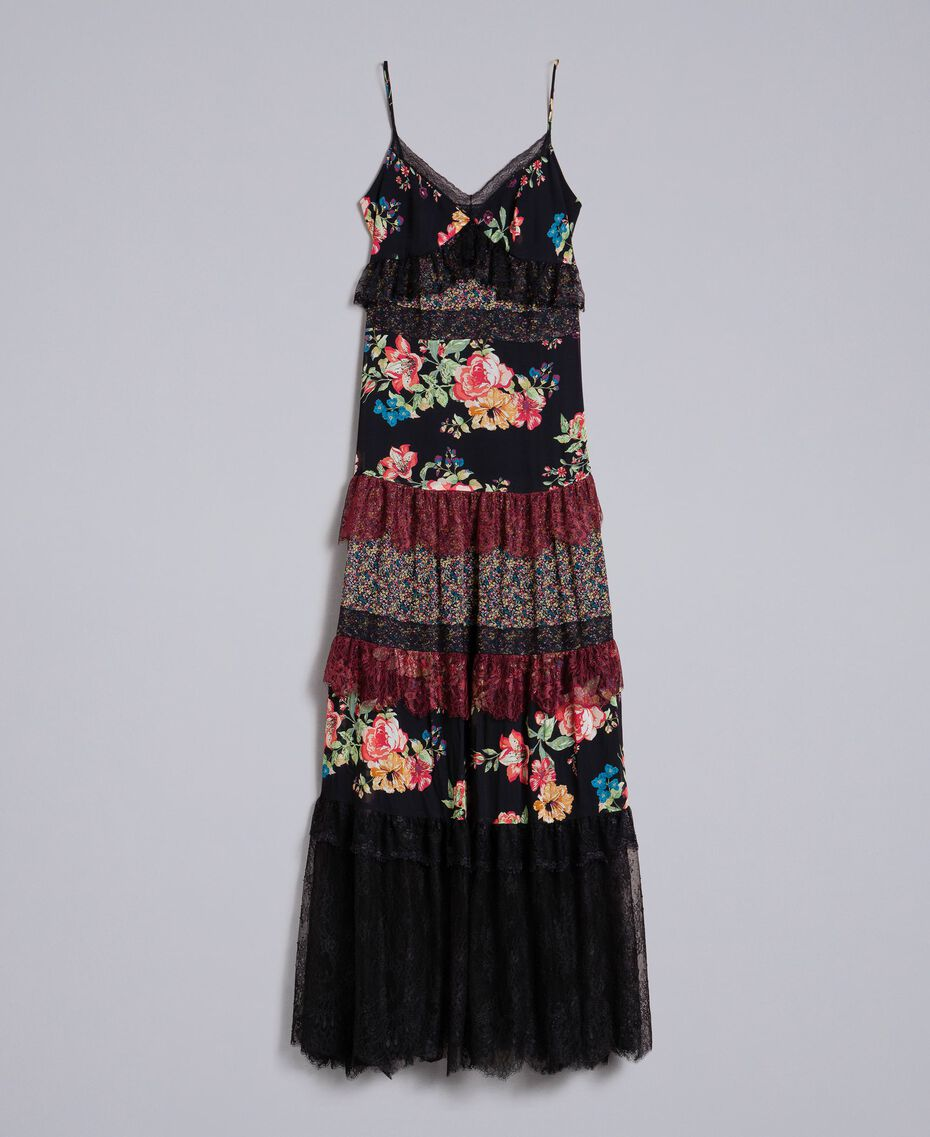 Floral print georgette long dress Flower Patch Print Woman PA82PB-0S