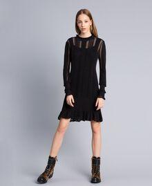 Kleid aus Viskose und Baumwolle mit Spitze Schwarz Frau TA83FB-0T